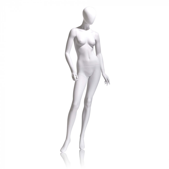 Female mannequin - oval head, arms slightly bent, turned at waist, right leg forward