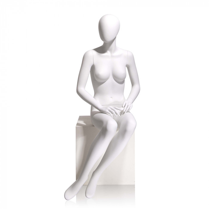 Female mannequin - oval head, hands on lap, seated