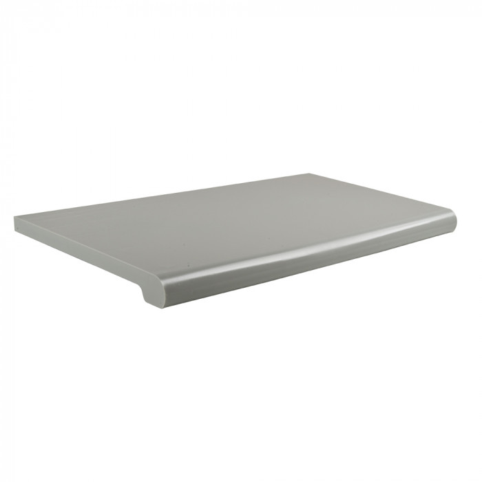 Bullnose shelves with open bottom, 13'' wide, 24'' grey