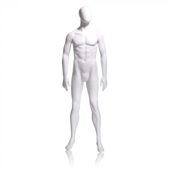 Male mannequin - oval head, arms by side, legs slightly bent
